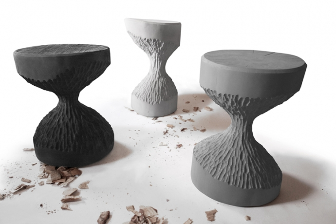 Stołki obgryzione przez bobry - stołek, taboret