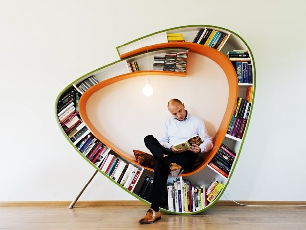 Bookworm - krzywy regał - design, regał