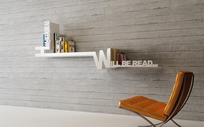 Posegreguj książki z Typographic Bookshelf - design, półka