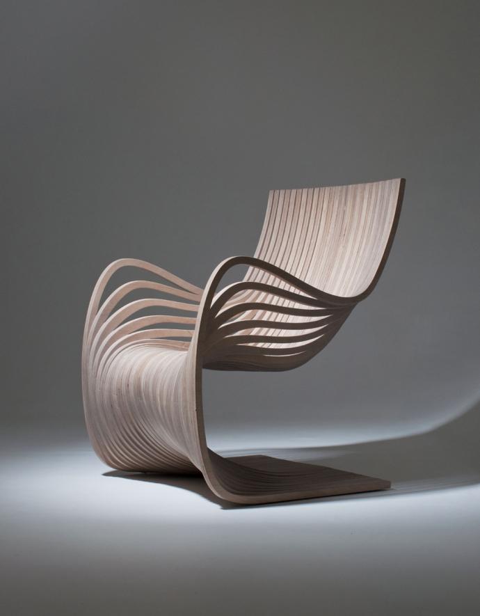 Pipo Chair, powyginana sklejka - design, krzesło