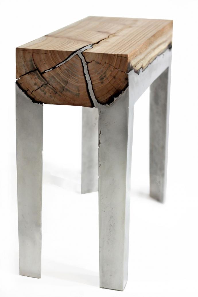 Wood casting - drewno i trochę ciekłego aluminium - ławka, stół
