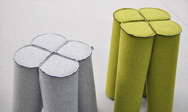 Trefle, siedziska inspirowane kartami - design, puf