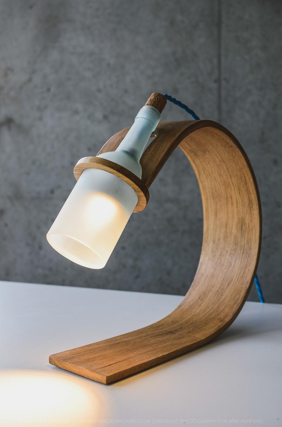 Lampka Quercus - butelka od wina i drewno - 2