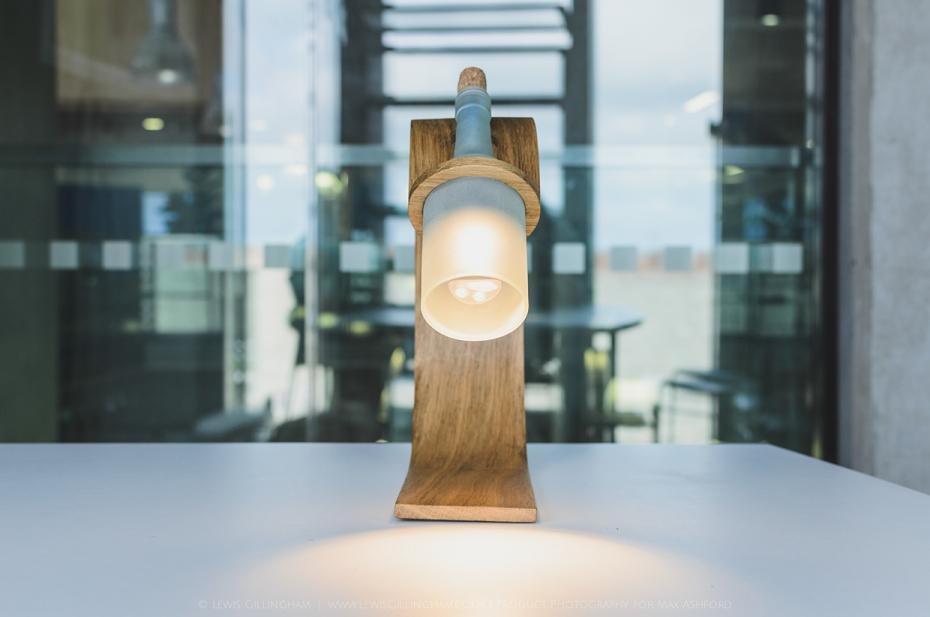 Lampka Quercus - butelka od wina i drewno - 10