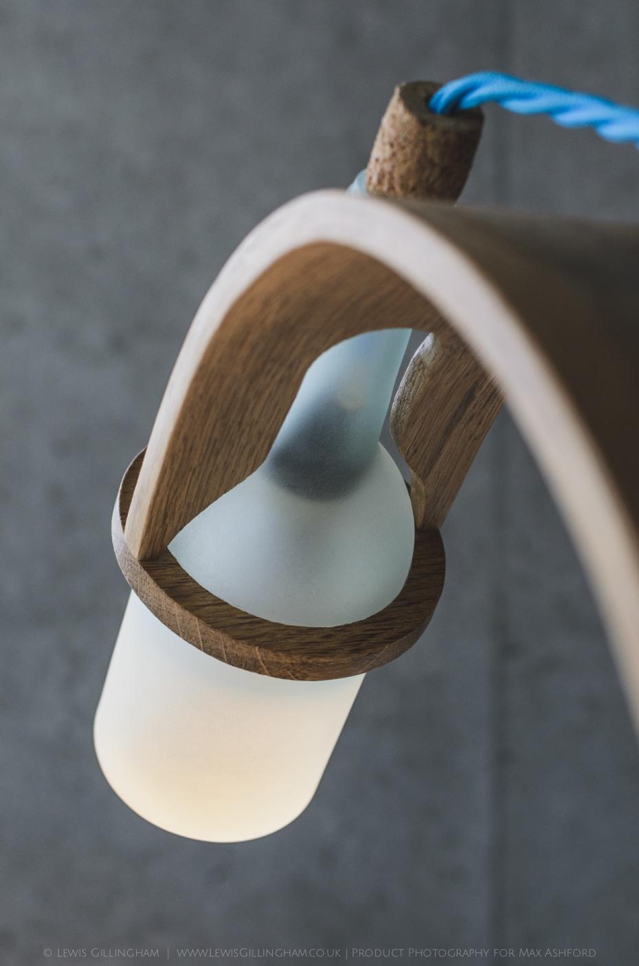 Lampka Quercus - butelka od wina i drewno - 13
