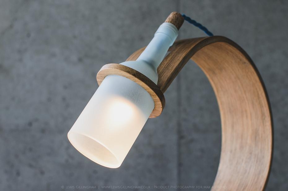 Lampka Quercus - butelka od wina i drewno - 1