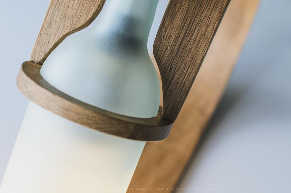 Lampka Quercus - butelka od wina i drewno - 6