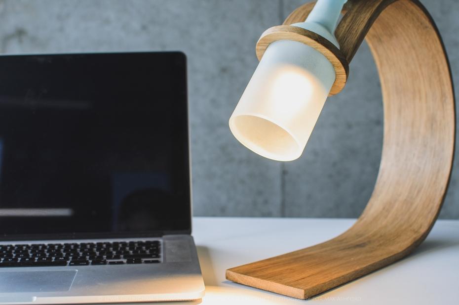 Lampka Quercus - butelka od wina i drewno - 4