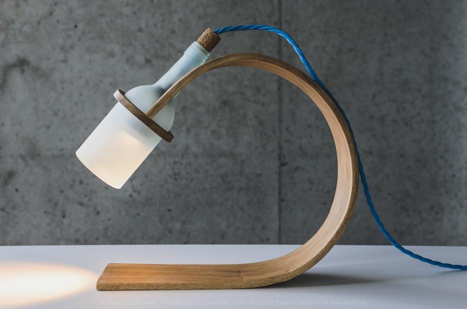 Lampka Quercus - butelka od wina i drewno - 3