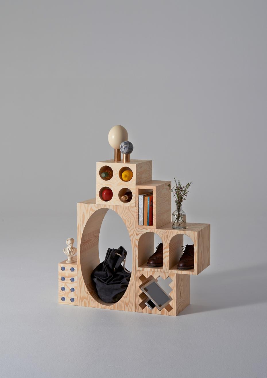 ROOM Collection - regał z drewnianych klocków - 5
