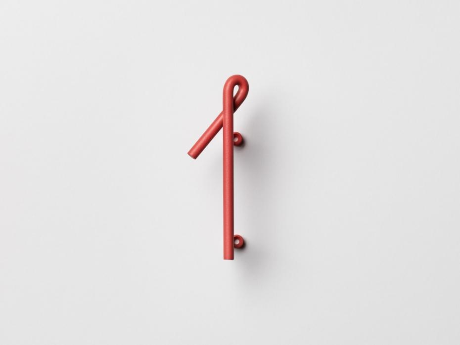 Designerski numer jeden Wire Number w kolorze czerwonym.
