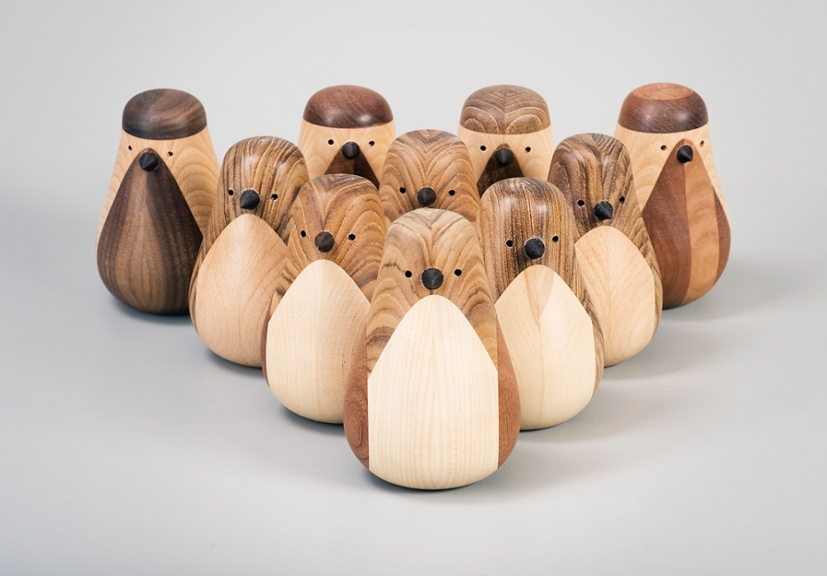 Designerskie ptaki Re-Turned z drewna.